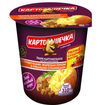 Картошечка Пюре картофельное с грибочками, жареным луком и ржаными сухариками, 50 г