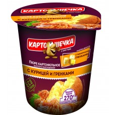 Картошечка Пюре картофельное с курицей и гренками, 40 г