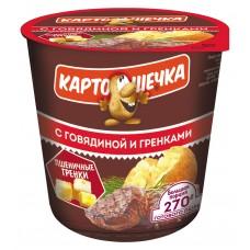 Картошечка Пюре картофельное с говядиной и гренками, 40 г